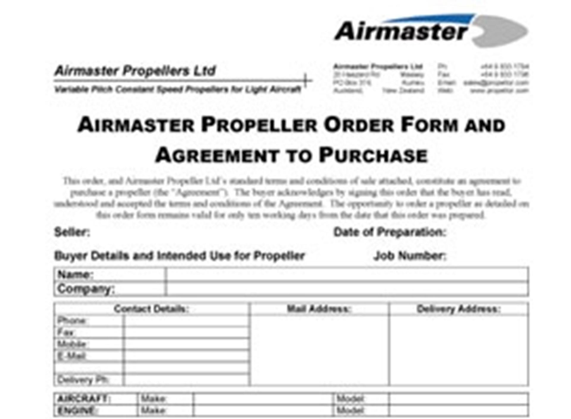 Picture of How to order an Airmaster Propeller